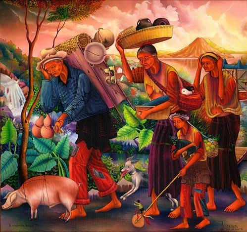 Antonio C. Ixtamer y Vicente Cumes Pop: Emigración, Sololá, 1992, 58.4 x 60.9 cm
