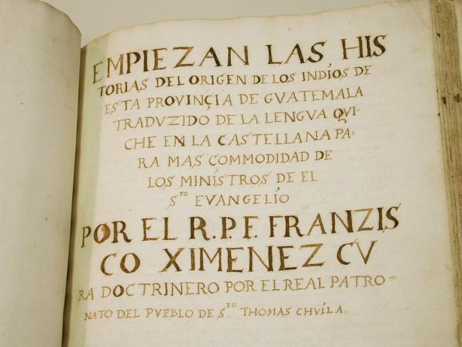 Primera página del manuscrito de F. Ximénez. Foto de la Biblioteca Newberry.