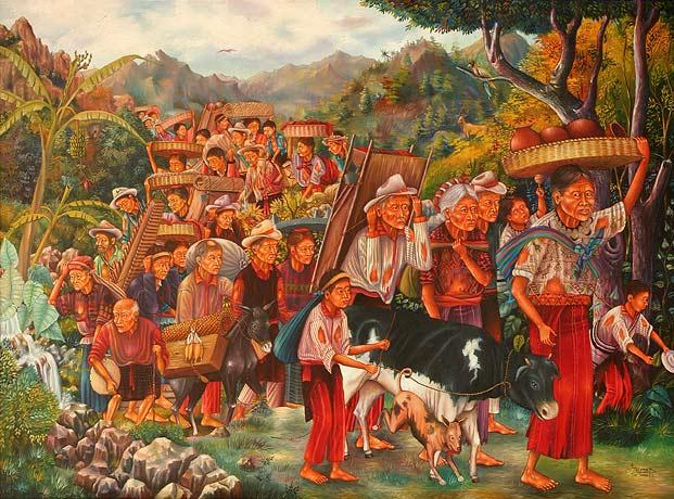 Antonio C. Ixtamer y Vicente Cumes Pop: Retorno de los refugiados 1993, 96.5 x 132 cm.