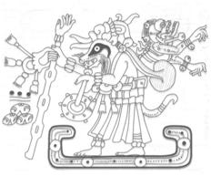 Wuch', el tacuazín tiznador del cielo. Ilustración del Códice de Dresde