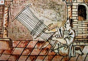 Tejedora. Códice florentino, libro X, folio 24r. Imagen tomada de revista de arqueología mexicana, textiles del México de ayer y hoy. 2005