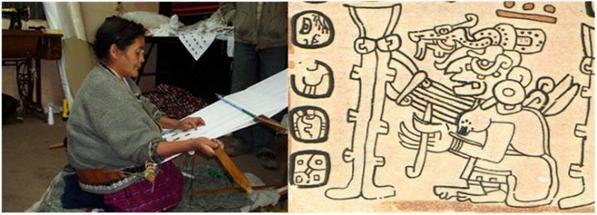 A la izquierda: una anciana tejedora del Municipio de Santa Catarina Ixtahuacán, departamento de Sololá. La imagen de la derecha: La Abuela Ixchel tejiendo, figura que aparece en la página 79 del Códice Trocortesiano (o de Madrid). Nótense las similitudes en el instrumental y la técnica.