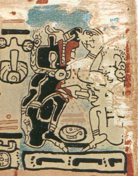 Códice de Madrid, versión de Bourbourg y Rosny, página 50. Muestra al Dios Q (izquierda) atacando al Dios M (comerciante) en un camino (éste marcado por las huellas de pies).